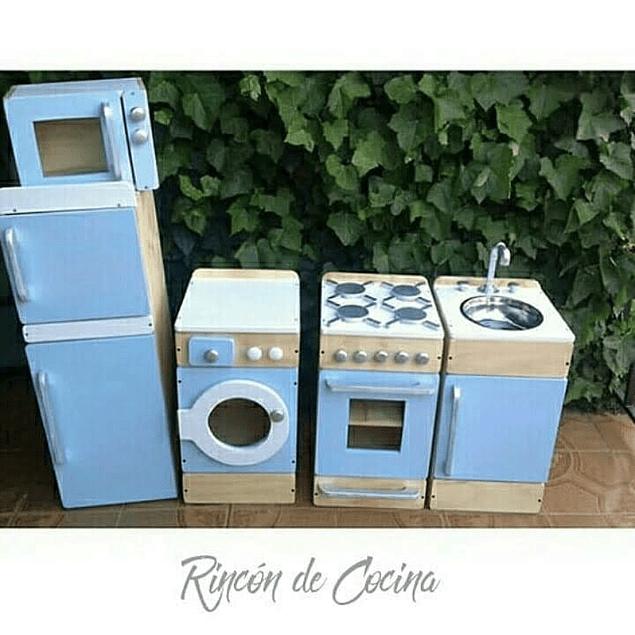 Refrigerador de madera juguete natural-color