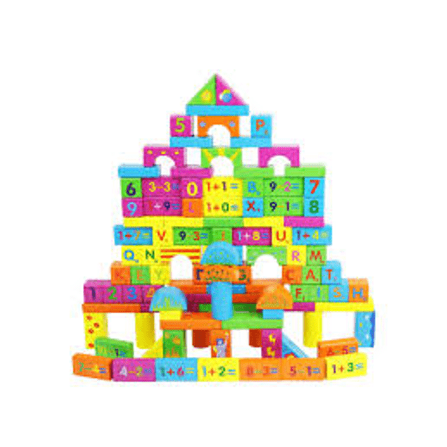 Bloques de madera 100 piezas Acooltoy