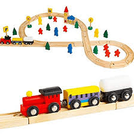 Pista de trenes de madera