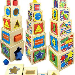 Cajas Apilables de Madera con encajes y números