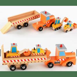 Camión de madera con maquinaria
