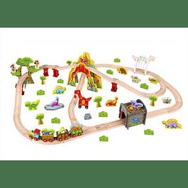 Set de tren de dinosaurio grande de madera Tooky Toy
