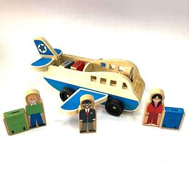 Avión de Madera con Pasajeros