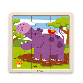 Puzzle de Madera 9 Piezas Hipopótamo