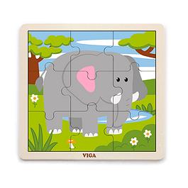 Puzzle de Madera 9 Piezas Elefante