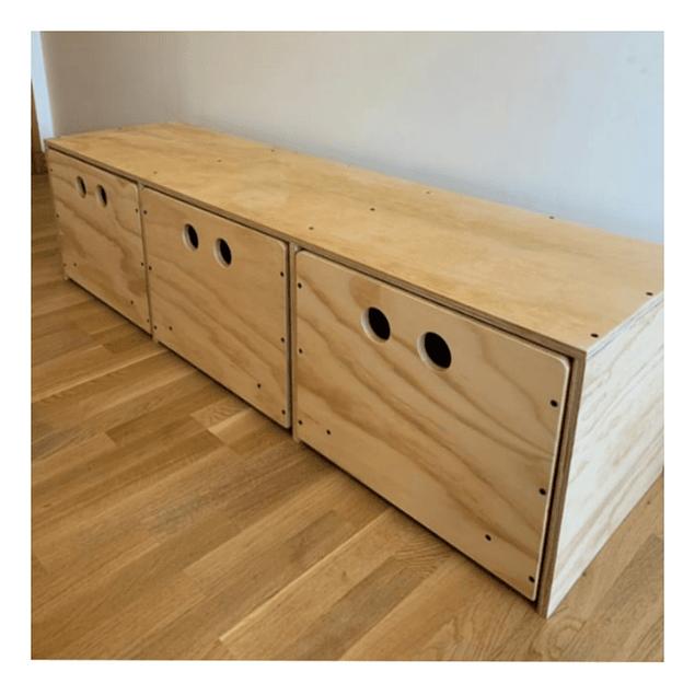Cajonera de madera, natural 100*40*40 cm (2 cajones)