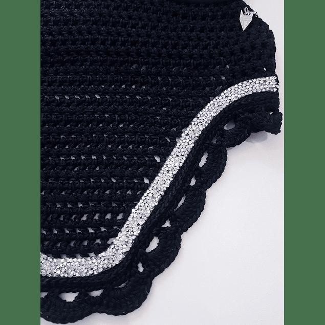 Black Scallops Silver Rhinestones