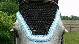 Black Square Front with Blue-White Trim Double Crystals