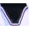 Black Square Front Bonnet with Purple White Trim Double Crystals