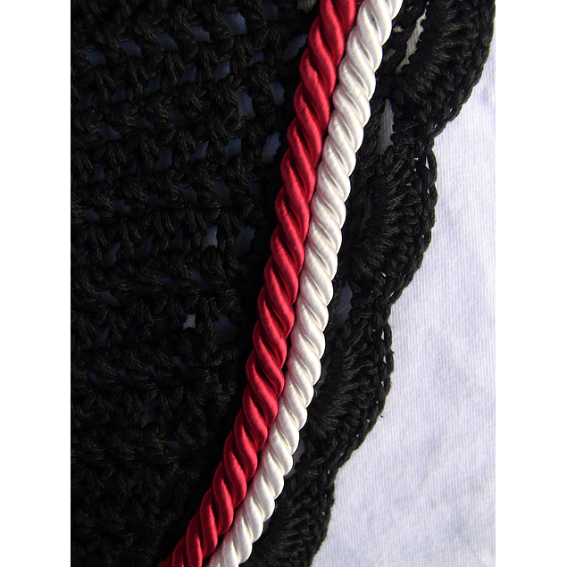 Black Scallop Bonnet with Red White Cording