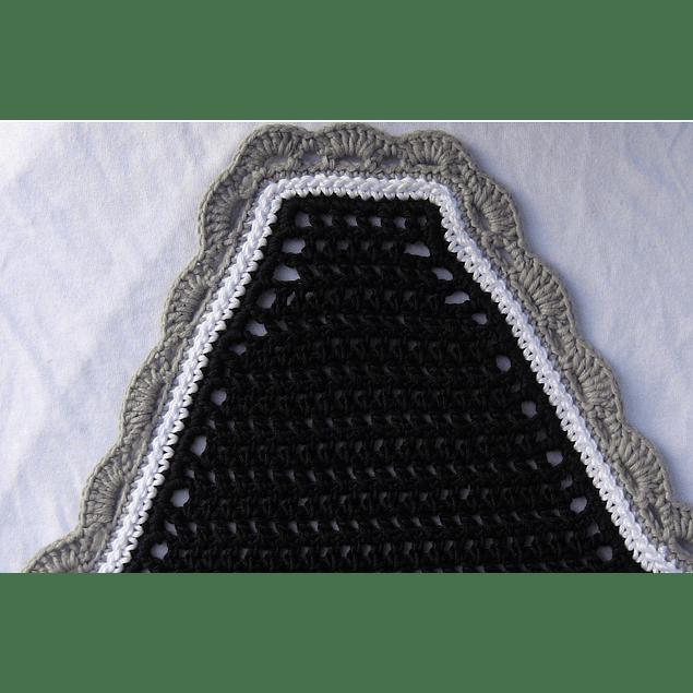Black Square Front White Trim Grey Scallops