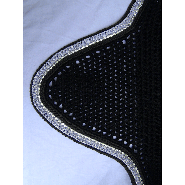 Black Round Bonnet with Silver Sparkle Trim and Rhinestones