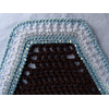Chocolate Square Bonnet with Blue and White Trim, Double Crystals