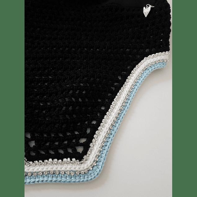 Black Square Bonnet White and Blue Trim Double Rhinestones