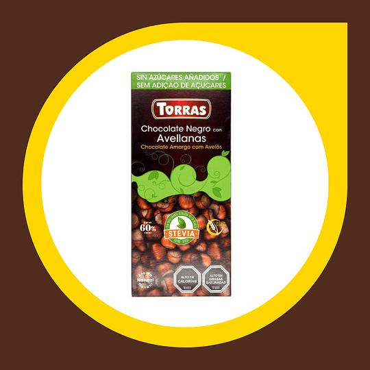 Chocolate Negro con Avellanas 60% Cacao sin Azucar 100gr