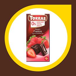 Chocolate Negro con Fresas 52% Cacao 0% Azucar 75gr