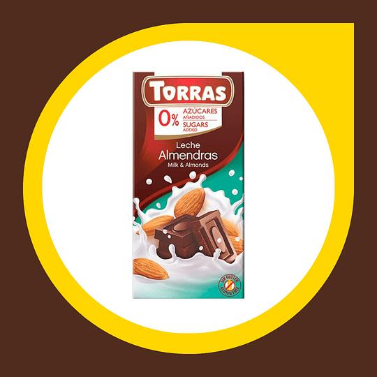 Chocolate Leche Almendras 0% Azucar 75gr