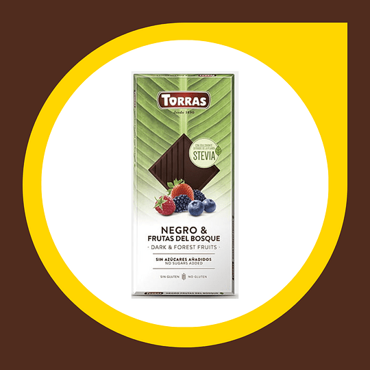 Chocolate Negro Frutos del Bosque sin Gluten sin Azucar 35gr