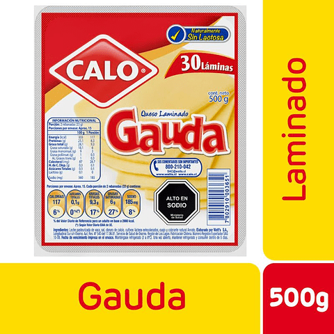 QUESO GAUDA LAMINADO - 500 GR