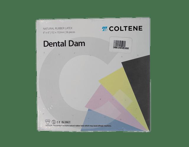 Goma Dique De Látex 6 X 6 Azul, Coltene Dental Dam