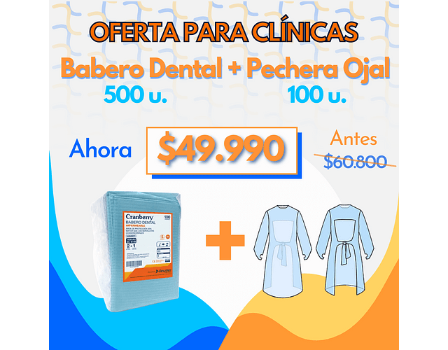 Pack Babero dental + Pechera Ojal