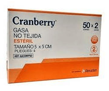 Gasa Estéril 5x5 Cranberry - caja 100 un
