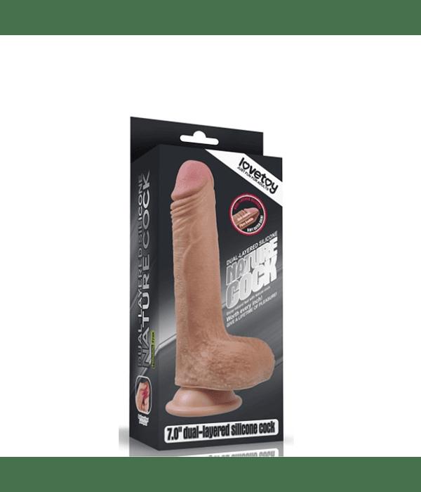 """Nature Cock con Testículos Platinum 7"""" Silicona"""