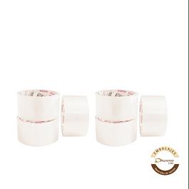 Pack x6 cintas de embalaje blanca 100M