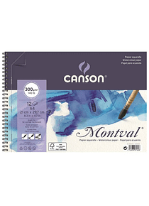 Canson Montval - Croquera Acuarela; A4 21 x 29,7 cm, 12 Hojas, 300 gr/m2
