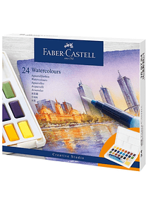 Faber-Castell Creative Studio - Set 24 Acuarelas con Water Brush