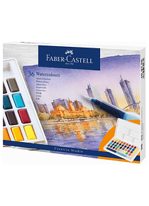 Faber-Castell Creative Studio - Set 36 Acuarelas con Water Brush