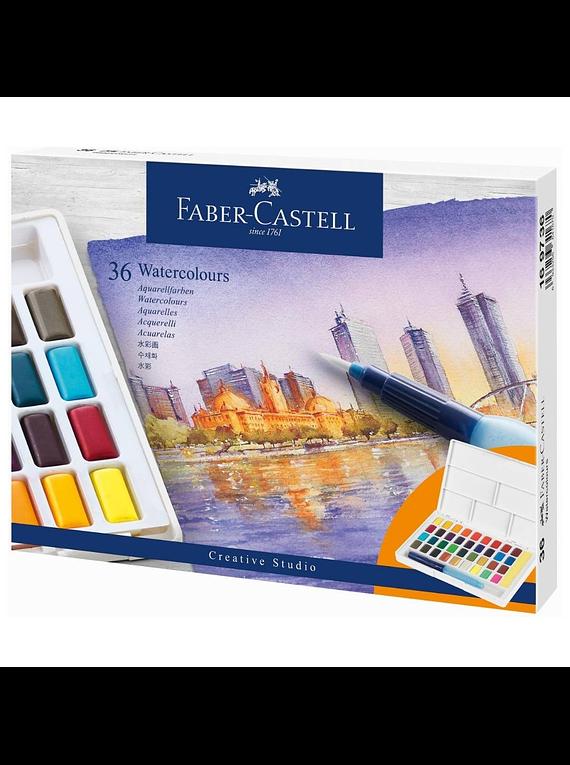 Faber-Castell Creative Studio - Set 36 Acuarelas con Water Brush
