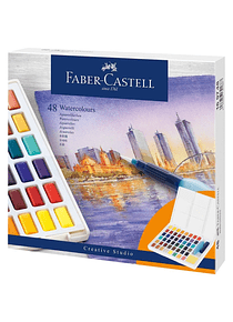 Faber-Castell Creative Studio - Set 48 Acuarelas con Water Brush