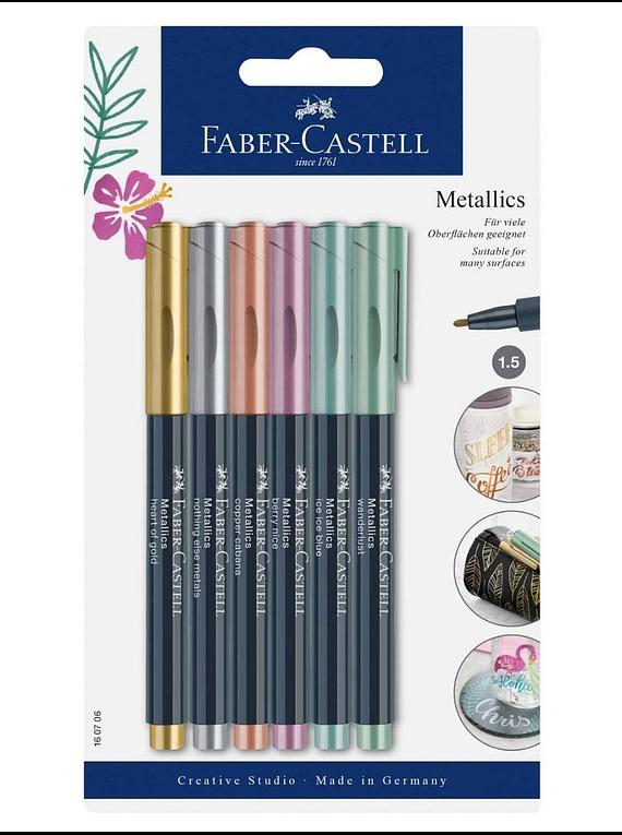 Faber-Castell Metallics - Set 6 Marcadores Multisuperficie