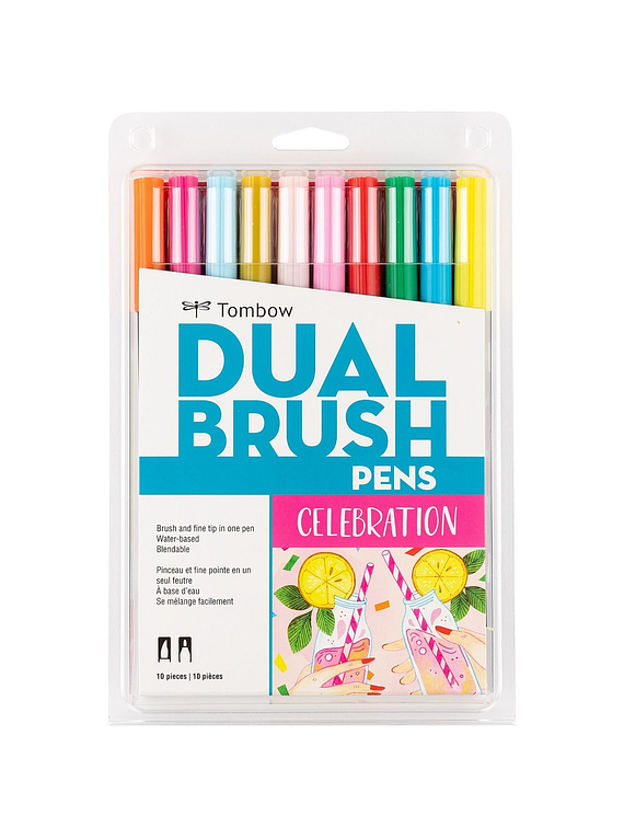 Tombow Dual Brush - Set 10 Marcadores; Celebration