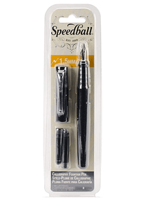 Speedball - Pluma Fuente 1,5 mm con 2 Cartuchos Tinta