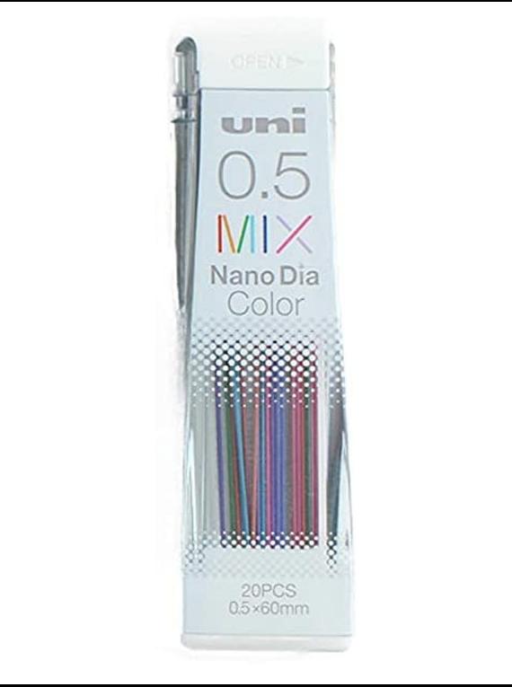 Uni Nano Dia Color - Pack 20 Minas de Colores Borrables 0.5 mm