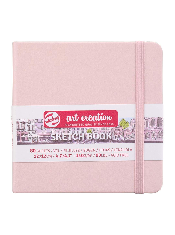 Talens Art Creation Sketch Book - Libreta Pastel Pink 12 x 12 cm, 80 Hojas, 140 g/m2