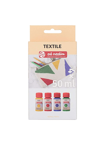 Talens Art Creation Textile - Set 4 Colores Pintura Textil Aperlada Frascos 50 ml