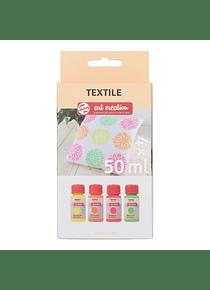 Talens Art Creation Textile - Set 4 Colores Pintura Textil Neón Frascos 50 ml