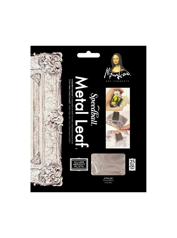 Speedball Mona Lisa - Pack 25 Pan de Oro Metal Leaf Plateado; 25 láminas, 14 x 14 cm