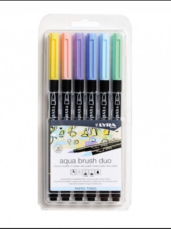 Lyra Aqua Brush Duo - Set 6 Marcadores Pastel Tones