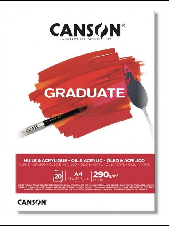 Canson Graduate - Croquera Óleo y Acrílico; A4 21 x 29,7 cm, 20 Hojas, 290 g/m2