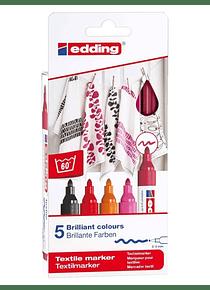 Edding 4500 - Set 5 Marcadores Textiles (2-3 mm) Colores Cálidos