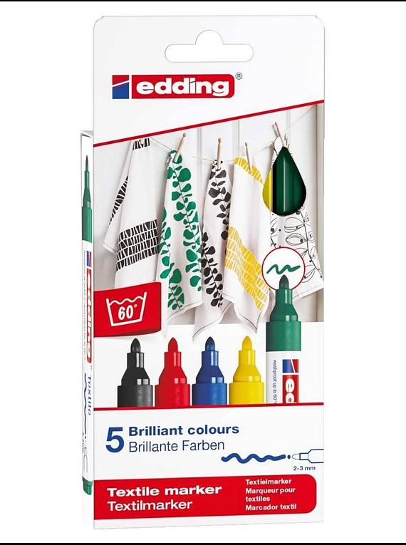 Edding 4500 - Set 5 Marcadores Textiles (2-3 mm) Colores Básicos