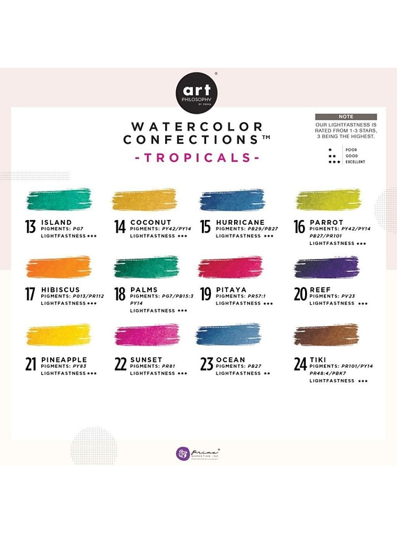 Art Philosophy Watercolor Confections - Set 12 Acuarelas Tropicals