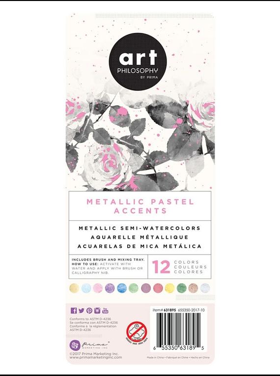 Art Philosophy Metallic Accents - Set 12 Acuarelas Metalizadas Pastels