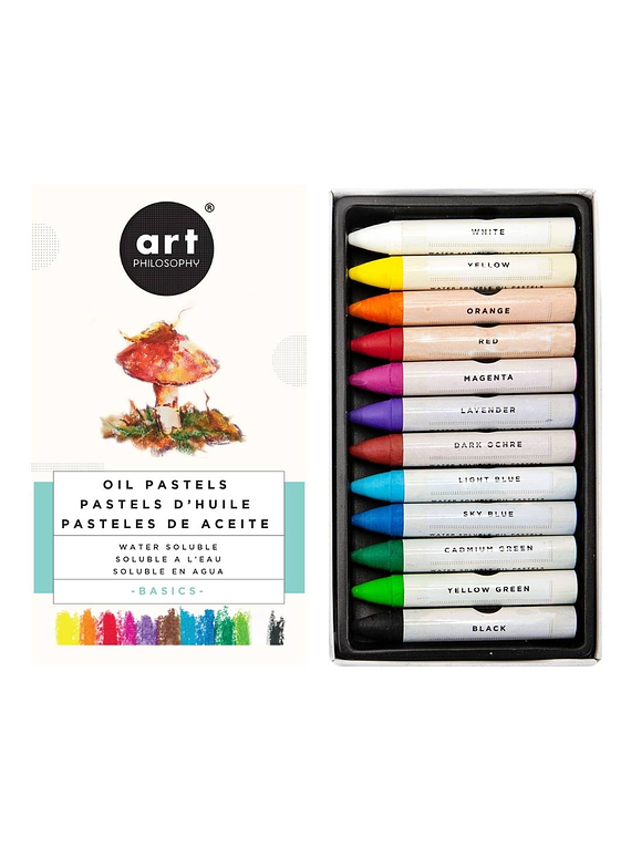Art Philosophy - Set 12 Pasteles al Óleo Solubles en Agua Basics