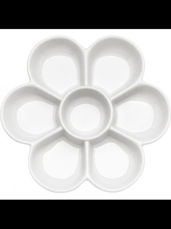 Ami - Paleta Mezcladora de Porcelana con 7 espacios Flor
