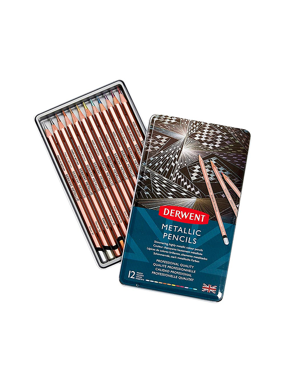 Derwent Metallic Pencils - Set 12 Lápices de Colores Metalizados